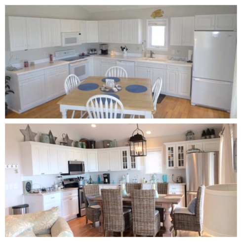 This kitchen had a little more of a facelift, with new cabinetry at the owner's request. We also added all new stainless steel appliances, a new hanging light fixture and a new table and set of chairs. We also added beach inspired knick knacks above the upper cabinets