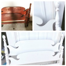 Estate sale headboard and footboard from England! Found rails and painted everything with chalk paint!